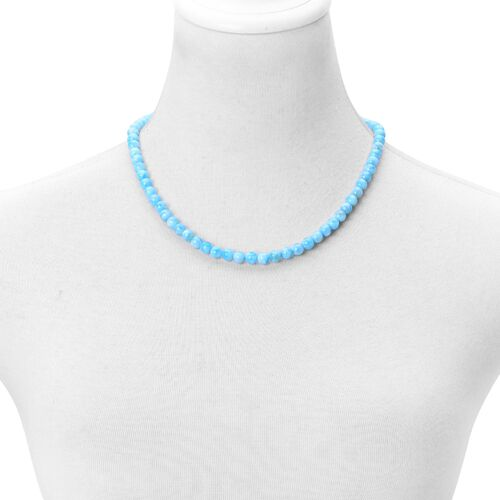 Dominican Republic Rare AAAA Larimar Necklace (Size 20) with Magnetic Clasp in Rhodium Plated Sterling Silver 195.000 Ct.