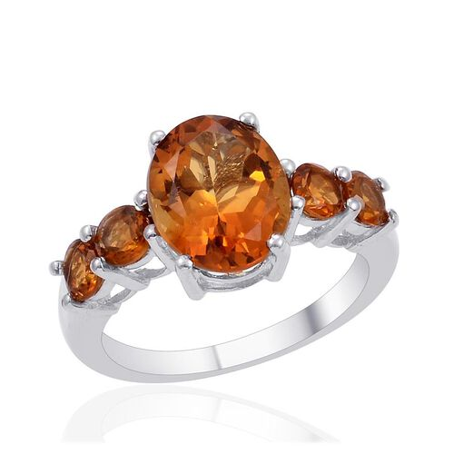Madeira Citrine (Ovl 3.00 Ct) Ring in Platinum Overlay Sterling Silver 4.000 Ct.