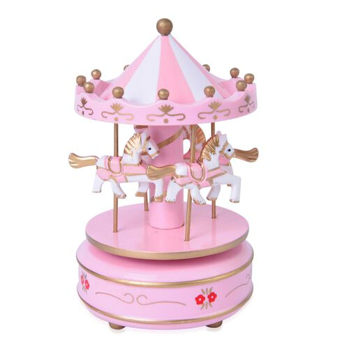 Home Decor - Handcrafted Pink and White Colour Wooden Horse Carousel Music Box (Size 18X10 Cm)