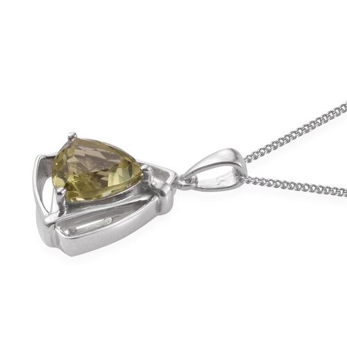 Natural Ouro Verde Quartz (Trl) Solitaire Pendant With Chain in Platinum Overlay Sterling Silver 3.250 Ct.