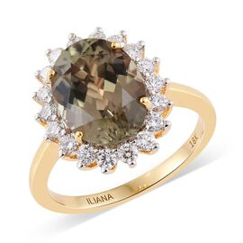 ILIANA 18K Y Gold Natural Turkizite (Ovl 4.24 Ct), Diamond (SI/G-H) Ring 4.840 Ct.