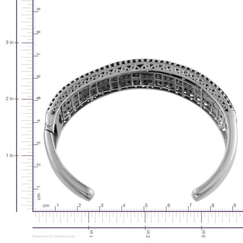 Boi Ploi Black Spinel (Bgt) Bangle (Size 7.5) in Platinum Overlay Sterling Silver 21.750 Ct. Silver wt 27.95 Grams