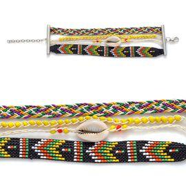 Cowry Shell Lemon Zest Hipanema Style Bracelet in Silver Tone