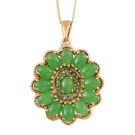 Green Jade (Ovl), Kagem Zambian Emerald Floral Pendant With Chain in 14K Gold Overlay Sterling Silver 6.000 Ct.