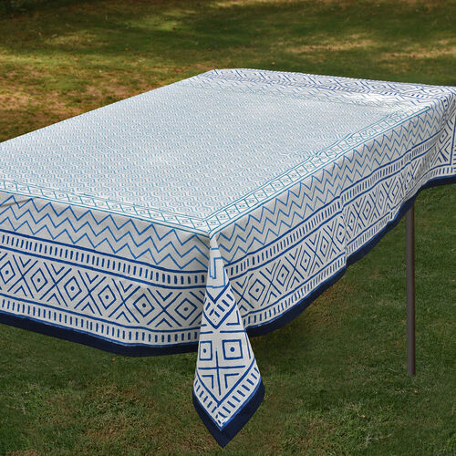 100% Cotton Blue and White Colour Hand Block Printed Table Cloth (Size 235x150 Cm)
