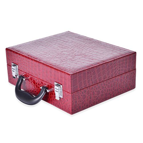 Wine Red Colour Croc Embossed Vanity Box with 5 Pcs Makeup Brushes and 6 LED Lights and Mirror Inside (Size 28.5x23.8x11 Cm)