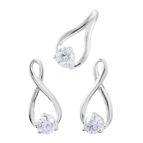 J Francis - Sterling Silver (Rnd) Solitaire Pendant and Earrings (with Push Back) Made with SWAROVSKI ZIRCONIA