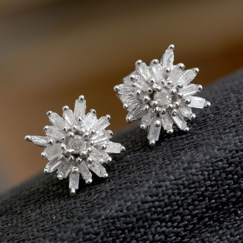 Diamond (Rnd) Stud Earrings (with Push Back) in Platinum Overlay Sterling Silver 0.250 Ct.