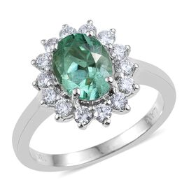 ILIANA 18K W Gold Boyaca Colombian Emerald (Ovl 1.95 Ct), Diamond (SI/G-H) Ring 2.500 Ct.