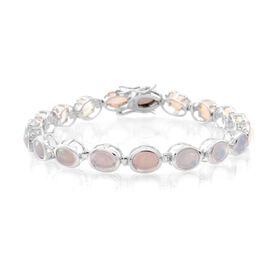 Ethiopian Opal (Ovl) Bracelet (Size 7.5) in Rhodium Plated Sterling Silver 10.000 Ct.