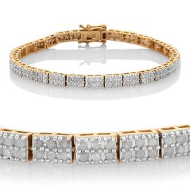 Diamond (Rnd) Bracelet (Size 7.5) in 14K Gold Overlay Sterling Silver 3.000 Ct.