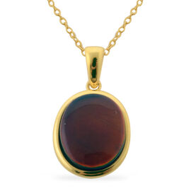 Tucson Collection Canadian Ammolite (Ovl) Solitaire Pendant With Chain in 14K Gold Overlay Sterling Silver 2.750 Ct.