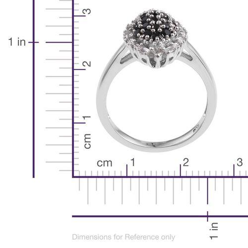 Boi Ploi Black Spinel (Rnd), White Topaz Ring in Platinum Overlay Sterling Silver 1.000 Ct.