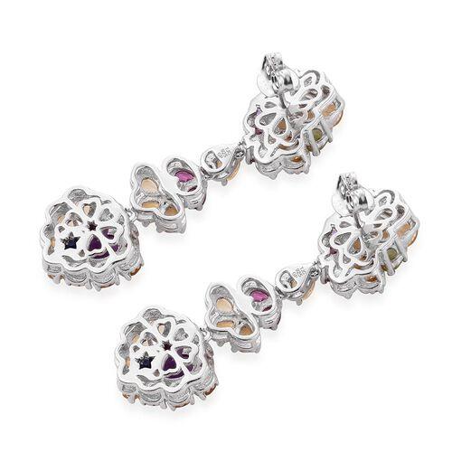 GP Amethyst (Hrt), Rhodolite Garnet, Hebei Peridot and Multi Gem Stone Earrings (with Push Back) in Platinum Overlay Sterling Silver 9.500 Ct.