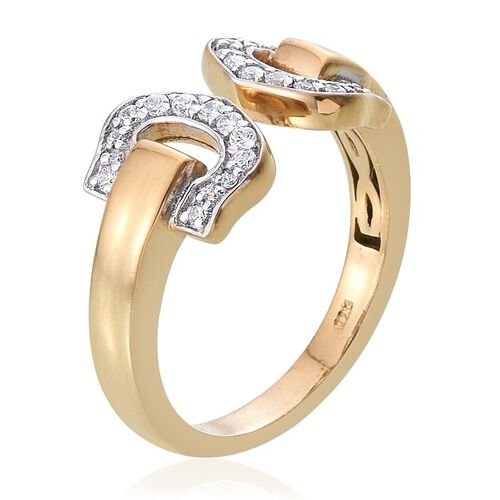J Francis - 14K Gold Overlay Sterling Silver (Rnd) Open Ring Made with SWAROVSKI ZIRCONIA