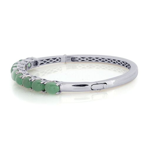 Emerald Quartz (Ovl) Bangle in Platinum Overlay Sterling Silver (Size 65x55mm/ Medium) 11.500 Ct.