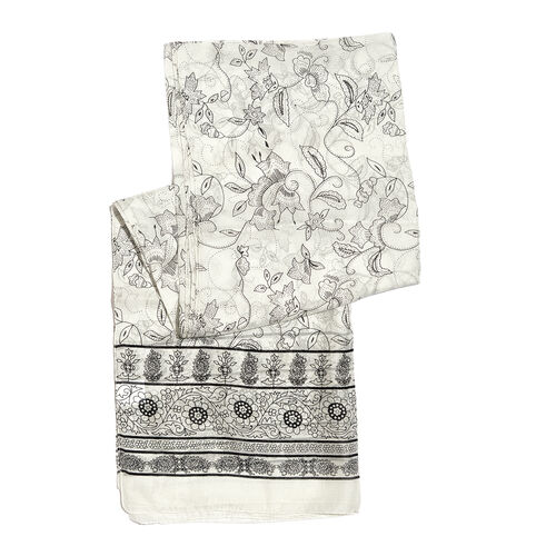 100% Mulberry Silk Flower and Paisley Printed Black and White Colour Scarf (180x100 Cm)