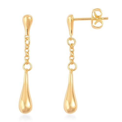 LucyQ Falling Drip Earrings (with Push Back) in Yellow Gold Overlay Sterling Silver 3.45 Gms.