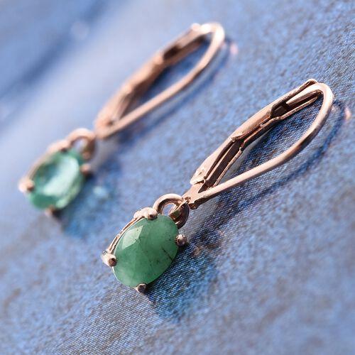 Zambian Emerald 1 Carat Silver Lever Back Earrings in Rose Gold Overlay