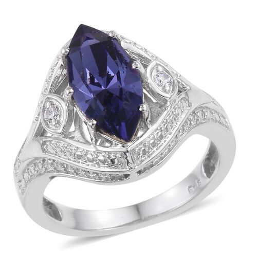 J Francis Crystal from Swarovski - Tanzanite Colour Crystal (Mrq), Simulated Diamond Ring in ION Plated Platinum Bond