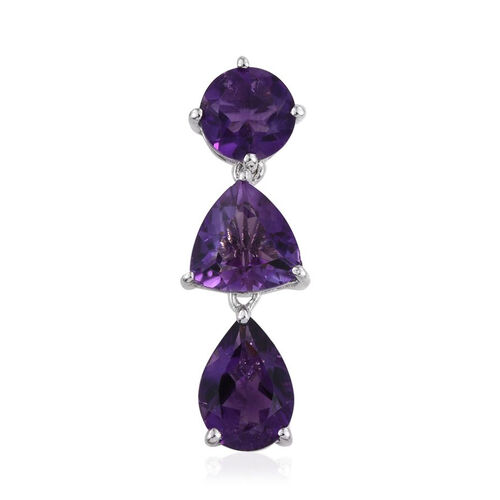 African Amethyst (Trl 1.35 Ct) Pendant in Platinum Overlay Sterling Silver 3.750 Ct.