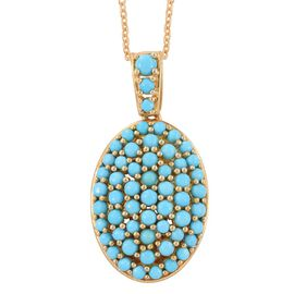 Arizona Sleeping Beauty Turquoise (Rnd) Cluster Pendant with Chain in 14K Gold Overlay Sterling Silver 4.225 Ct.