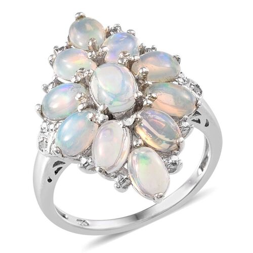Ethiopian Welo Opal (Ovl), Diamond Ring in Platinum Overlay Sterling Silver 2.770 Ct.