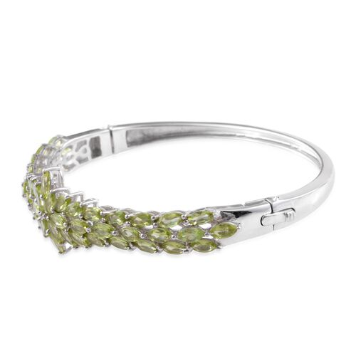 Designer Inspired-Hebei Peridot (Mrq) Bangle (Size 7.5) in Platinum Overlay Sterling Silver 11.000 Ct. Silver wt 20.00 Gms.