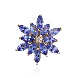 9K Y Gold AA Tanzanite (Mrq 3.20 Ct), Diamond (I 3/G-H ) Floral Pendant 3.250 Ct.