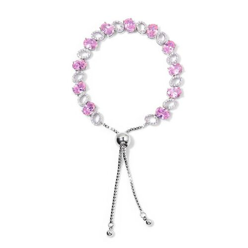 AAA Simulated Pink Sapphire and Simulated White Diamond Bracelet (Size 6.5 -8.5 Adjustable) in Silver Tone