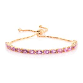 Pink Sapphire 4.75 Ct Silver Adjustable Bracelet in 14K Gold Overlay (Size 6.5 to 8)