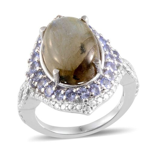 Labradorite (Ovl 5.75 Ct), Tanzanite Ring in Platinum Overlay Sterling Silver 6.750 Ct.