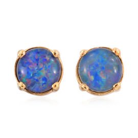 Australian Boulder Opal (Rnd) Stud Earrings (with Push Back) in 14K Gold Overlay Sterling Silver 1.250 Ct.
