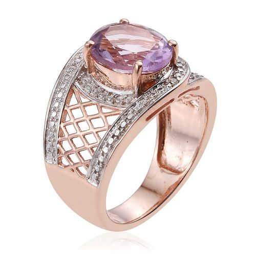 Rose De France Amethyst (Ovl 3.25 Ct), Diamond Ring in ION Plated 18K Rose Gold Bond 3.260 Ct.