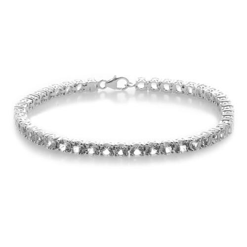 Golconda Diamond Topaz (Rnd) Bracelet in Platinum Overlay Sterling Silver (Size 7.5) 12.01 Ct.
