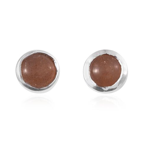 Morogoro Peach Sunstone (Rnd) Stud Earrings (with Push Back) in Platinum Overlay Sterling Silver 1.750 Ct.