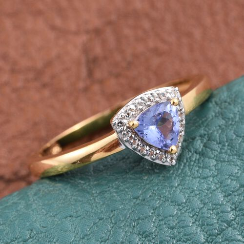 Tanzanite Trillion, White Topaz 0.50 Carat Ring in 14K Gold Overlay Sterling Silver.