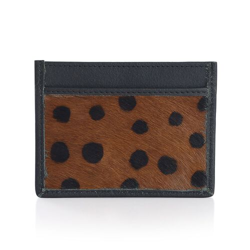 Set of 2 - Genuine Leather White and Black Colour Zebra Pattern and Chocolate and Black Colour Dot Pattern Card Holder (Size 10x8 Cm)