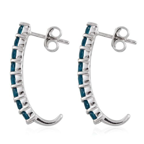 Malgache Neon Apatite (Rnd) J Hoop Earrings in Platinum Overlay Sterling Silver 1.500 Ct.