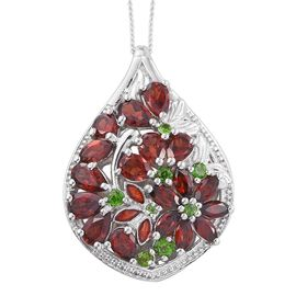 GP Mozambique Garnet (Pear), Russian Diopside and Kanchanaburi Blue Sapphire Pendant with Chain in Platinum Overlay Sterling Silver 3.750 Ct.