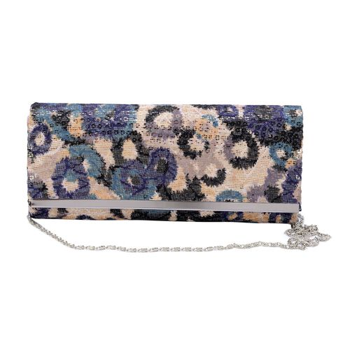 Multi Colour Clutch Bag with Golden Colour Sequins and Chain Strap (Size 27x10 Cm)