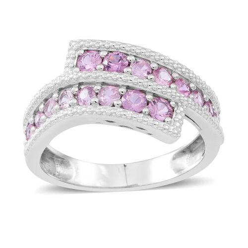 Pink Sapphire (Rnd) Crossover Ring in Rhodium Plated Sterling Silver 1.750 Ct.