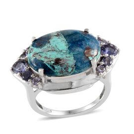 Table Mountain Shadowkite (Ovl 8.75 Ct), Iolite Ring in Platinum Overlay Sterling Silver 9.500 Ct.