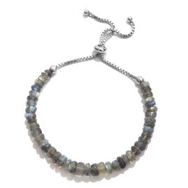 Limited Edition-  One Time Only - Labradorite Round Beads Adjustable Bracelet (Size 6.5 to 8) in Sterling Silver 28.000 Ct.