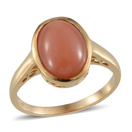 Mitiyagoda Peach Moonstone (Ovl) Solitaire Ring in 14K Gold Overlay Sterling Silver 8.250 Ct.