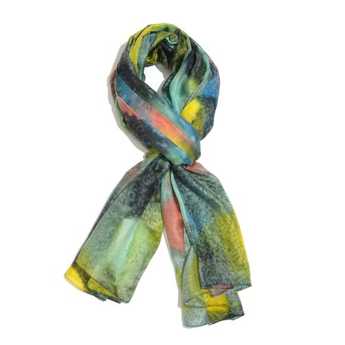 100% Mulberry Silk Multi Colour Hand Screen Printed Scarf (Size 180X100 Cm)
