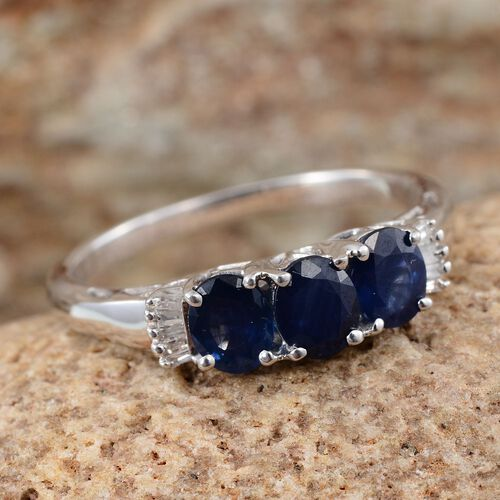 9K W Gold Kanchanaburi Blue Sapphire (Ovl 1.33 Ct), Diamond Ring 1.400 Ct.