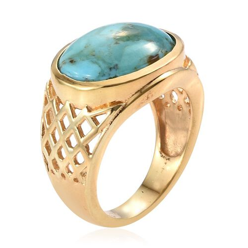 Arizona Matrix Turquoise (Ovl) Solitaire Ring in 14K Gold Overlay Sterling Silver 5.750 Ct.