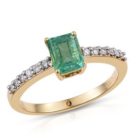 ILIANA 18K Yellow Gold 1 Carat Boyaca Colombian Emerald Octagon Solitaire Ring with Diamond SI G-H.