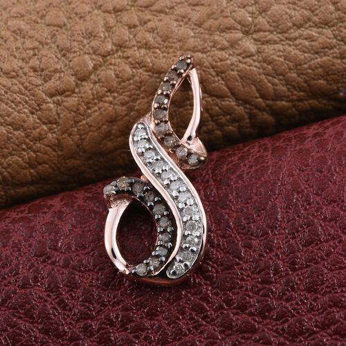 Natural Champagne Diamond, White Diamond Pendant in Rose Gold Overlay Sterling Silver.